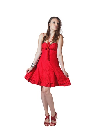 Beautiful blond girl in long elegant red dress isolated on white background Stock Photo - 15408276