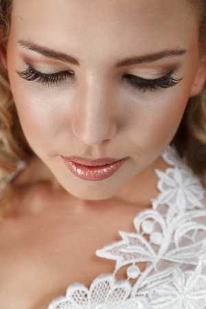 Young beautiful bride face close-up portrait photo