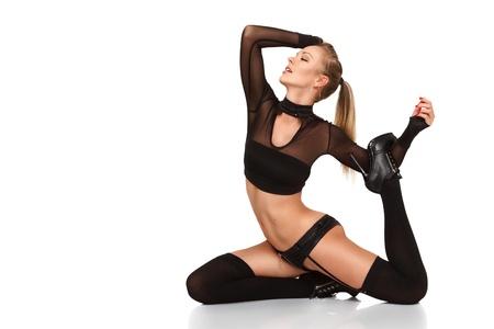 sexy young girls: Сексуальная блондинка женщина, танцы в ночном клубе на белом фоне