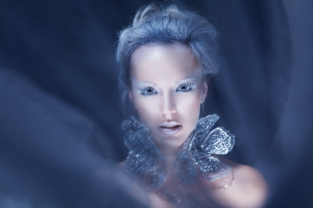 Fashion model with blue ice frost makeup Stock Photo - 15715265
