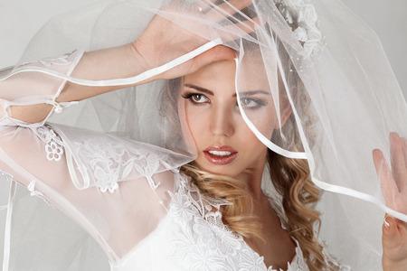 Beautiful young bride studio indoor portrait