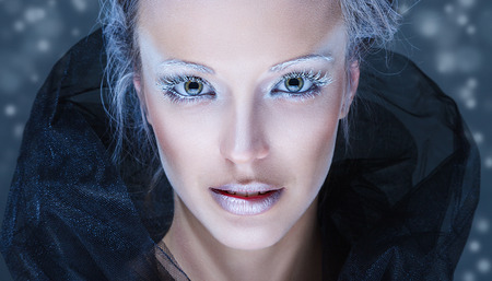 Young fashion model with creative winter snow make-up