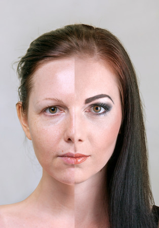 Before and after makeup and retouch face split compare concept