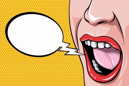 Woman Screams Pop Art Retro Vector Illustration