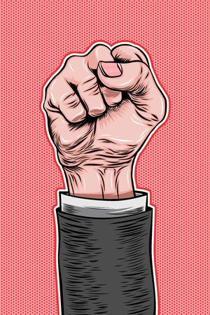 Male Clenched Fist Pop Art Retro Vector Illustration