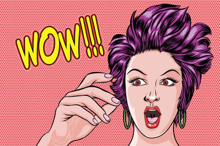 Surprised woman face and saying WOW Pop Art Retro Vector Illustration