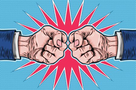 Two Hands Clenched Fist Pop Art Retro Vector Illustration