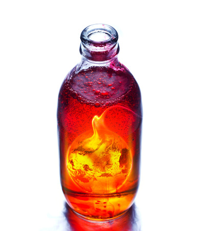 boil: Earth burning in the bottle and red water boil