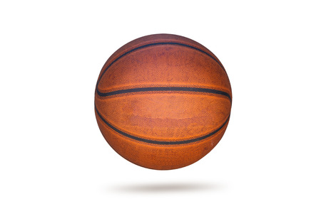 sporting goods: Old basketball on white background