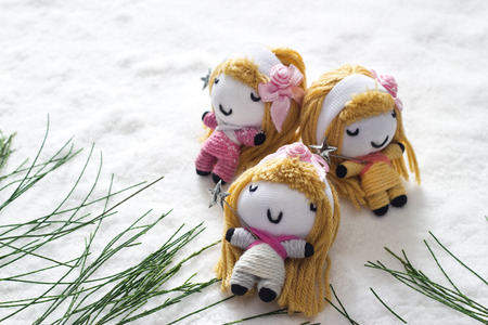 pine three: three angel relax sleep on snow befor christmas, doll hand made concept