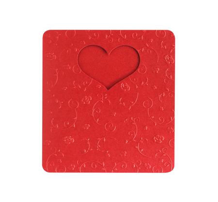 flower shape: red heart shape on metallic color, card valentine on paper texture flower design