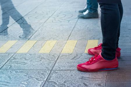 People walk street inthe city Stock Photo