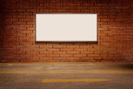 light box: light box or white board on brick grunge wall and street floor background