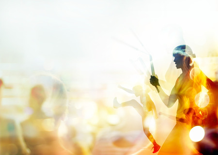 nunchaku: Double exposure, woman fighting martial arts, boxing and fight with nunchaku on people in stadium background, soft focus and blur