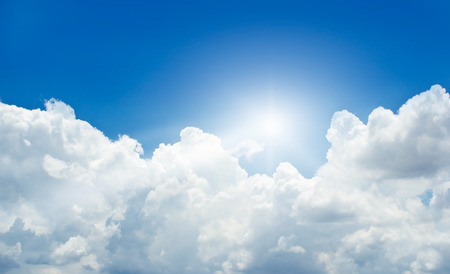 blue cloudy sky: blue sky with cloud and sunbeam in summer