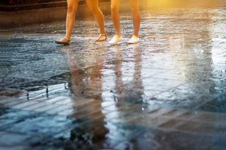 abstract people street walk in the rain, colorful, pastel and blur concept photo