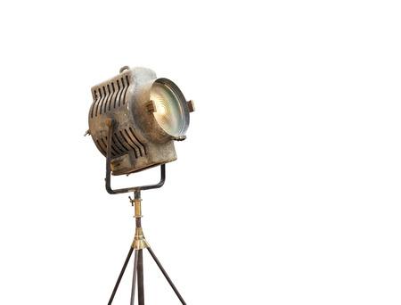 Luz de la película de la vendimia en un soporte, aislado fondo y texto en blanco Foto de archivo