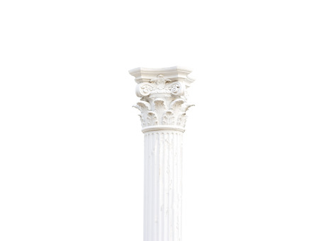 White single pillars greek on white background