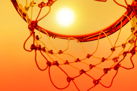 intramural: Basketball hoop outdoor in the sunset, Colorful and Ant eye view