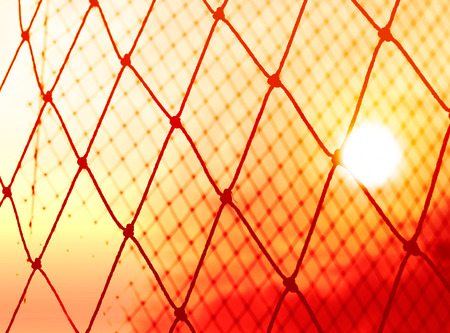 safety net: Silhouette colorful of goal net soccer in the sunset