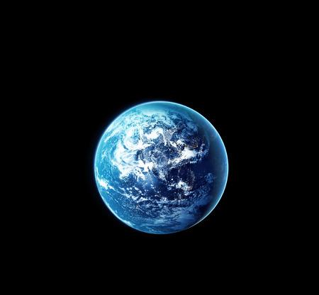 Planeet aarde met zon stijgen van de ruimte in de nacht Stockfoto