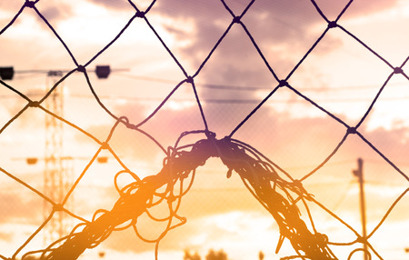 soccer net: Abstract, Silhouette colorful of goal net soccer in the sunset, soft focus