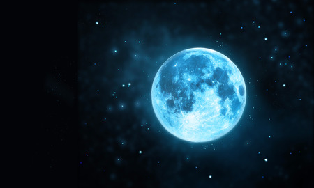 over white background: White full moon atmosphere with star at dark night sky background, Original image from NASA.gov Stock Photo