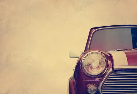 head light: Retro car head light on paper grain background, vintage color tone Stock Photo