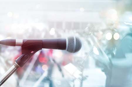 microphones: Abstract microphone with guitarist on stage, pastel color and soft concept