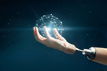 추상 과학, 밤 배경에서 별에 로봇 손에 원 글로벌 비즈니스 네트워크 연결 스톡 콘텐츠