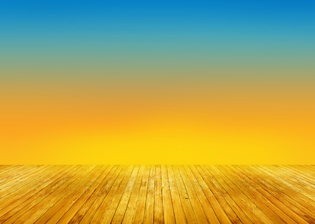 blue texture: abstract brown wood perspective texture on colorful sky sunset background