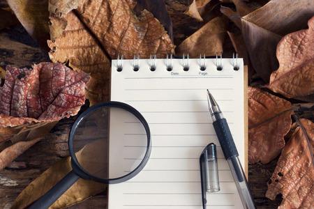 lupa: La pluma y la lupa en el bloc de notas con la hoja seca en el fondo de la naturaleza