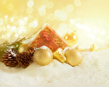 warm color: Gold Christmas gift boxes, Warm color tone