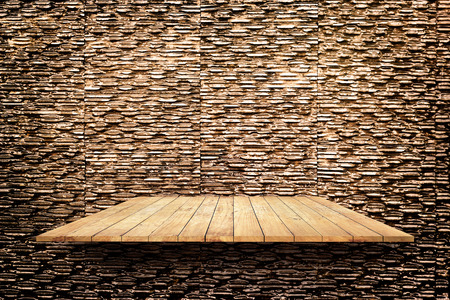 laths: wooden shelves on modern stone texture wall texture background