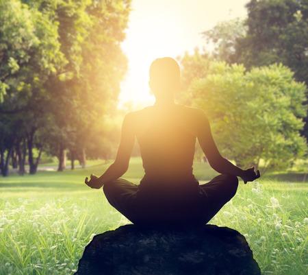 Sunset meditation in forest