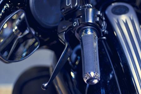handlebar: handlebar motorcycle in dark background, soft focus and blur