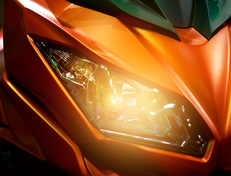 touring: Colorful headlights modern motorcycle
