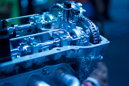 car engine part, blue color tone Stock Photo