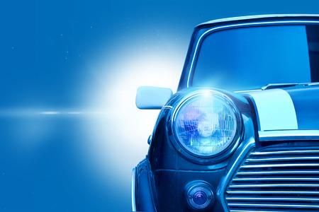 Retro Classic Design della luce della testa auto d'epoca su tono colore blu