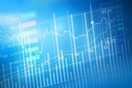 Négociation d'investissement du marché boursier, bougie de diagramme de bâton, tendance graphique, le point haussier, le point baissier, doux et flou Banque d'images - 54938186
