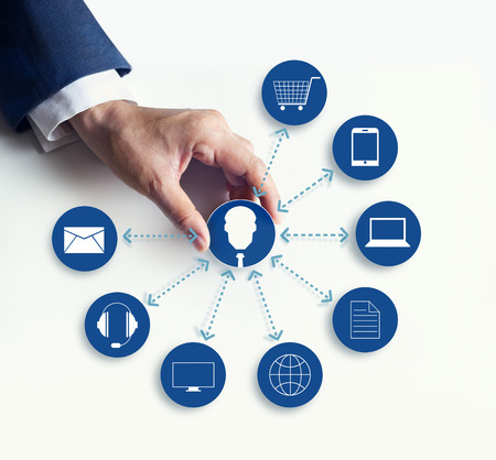 Hands holding icon customer network connection, Omni Channel or Multi channel