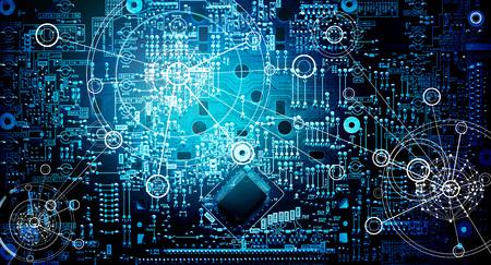 抽象的な電子回路のネットワーク グランジ背景 写真素材