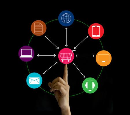 Hand hält Network-Marketing-Verbindung, Omni-Channel oder Multi-Kanal Lizenzfreie Bilder
