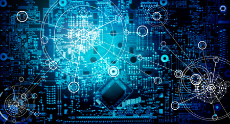 Abstract, Electronic circuit network grunge background Imagens