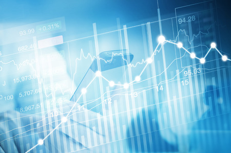 bullish market: stock market investment trading, candle stick graph chart, trend of graph, Bullish point, Bearish point and business man, soft and blue color tone Stock Photo