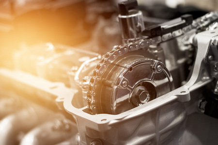 Details of car engine chain and gears, Cut away engine