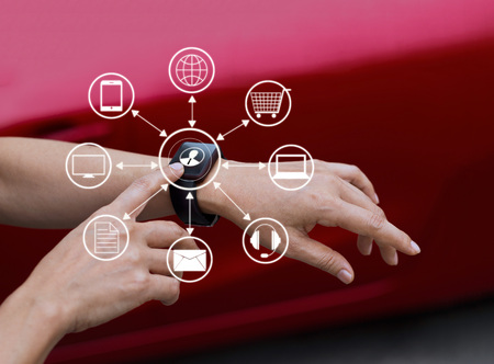 Hands touch icon customer network connection on smart watch, Omni Channel or Multi channel