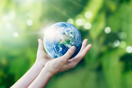 protect earth: Hands holding and protect earth on nature background, Elements of this image furnished by NASA