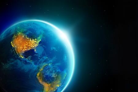 topografia: Luces de la ciudad por la noche en América del planeta tierra con sol naciente,