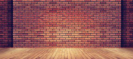 Rode bakstenen muurtextuur en houten vloerachtergrond